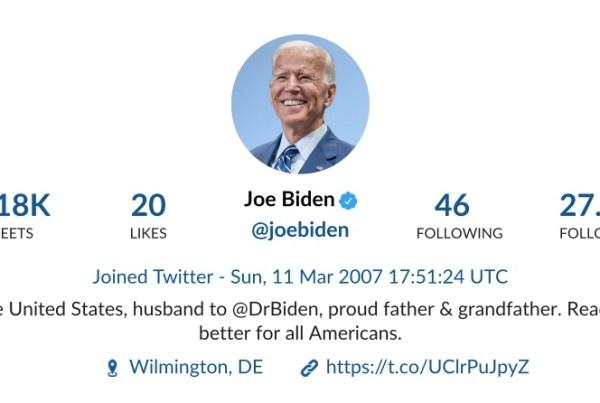 Twitter profile Joe Biden