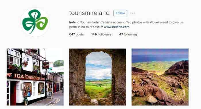 Tourism Ireland Instagram page Followmeaway.com