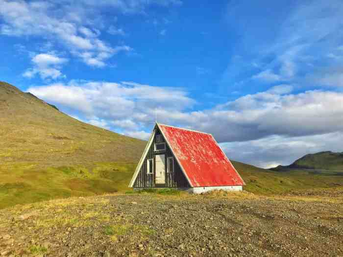 Red hut on top of a Snaefellsnes Peninsula mountain pass in west Iceland