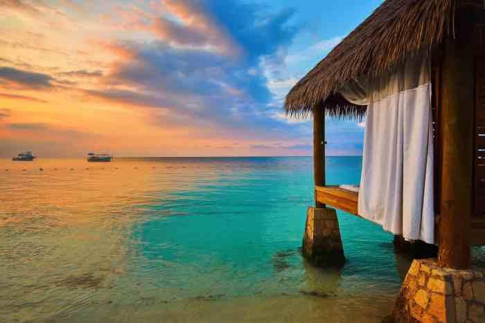 Sunset over Montego Bay Jamaica at Sandals Resorts