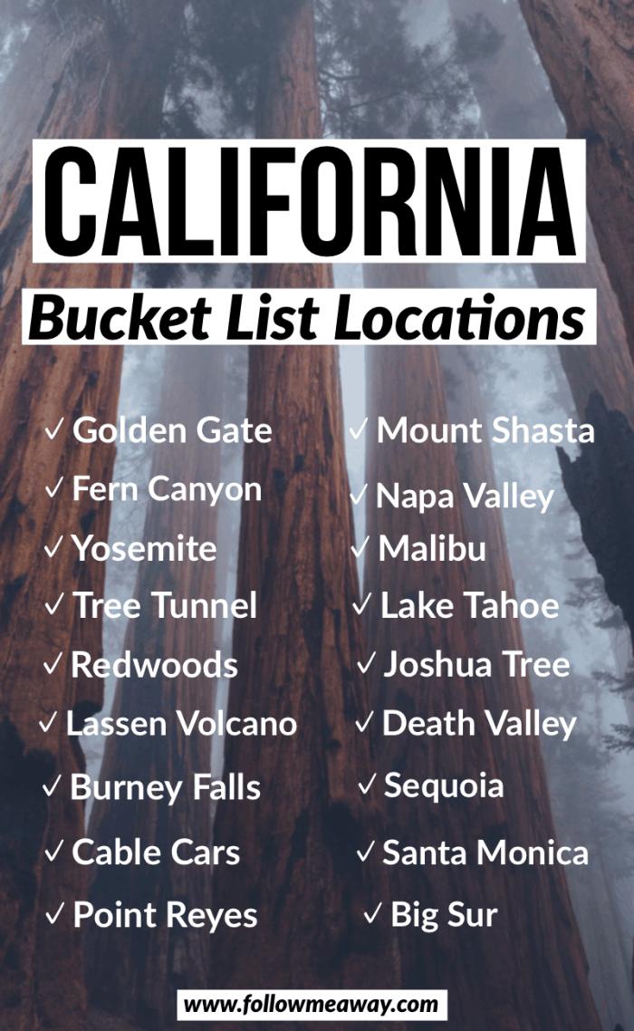 California Bucket List Locations