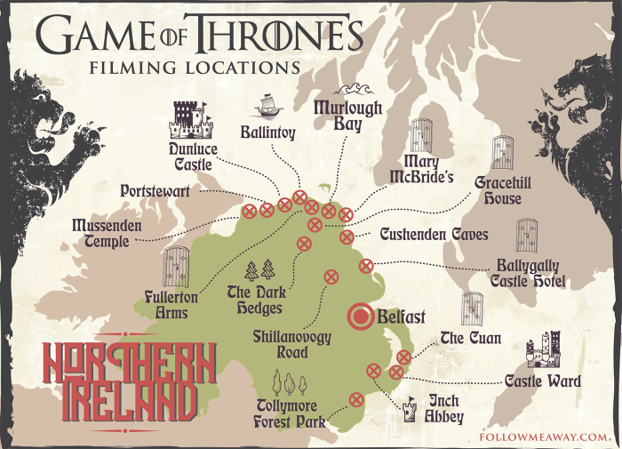 Map Of Ireland Castles.3 5 Day Game Of Thrones Locations Ireland Itinerary Follow Me Away