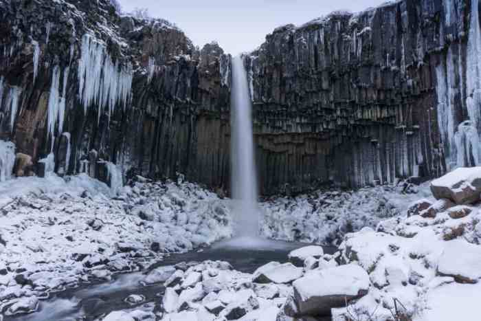 epic things to do in iceland during the winter include hiking to waterfalls