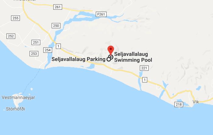 Map of Seljavallalaug pool location on Iceland's south coast