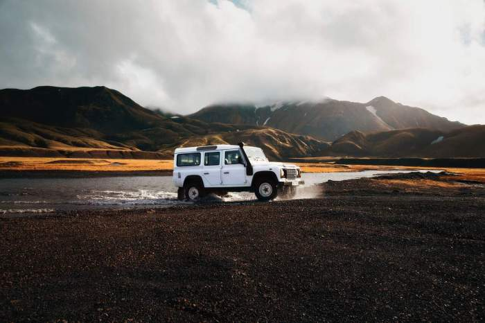 Crossing rivers in Thorsmork Iceland