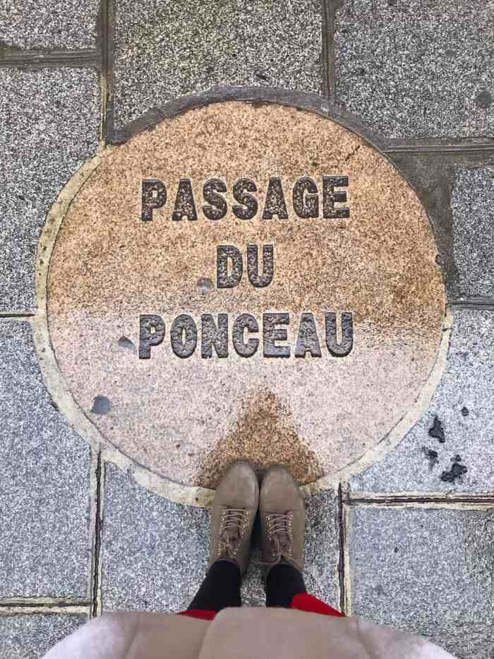 Passage du Ponceau sign outside of Paris shopping galerie