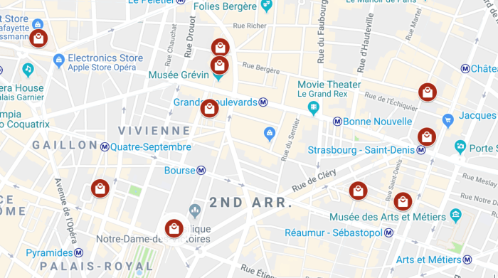 Covered Passages In Paris Map | Map of covered passages in Paris