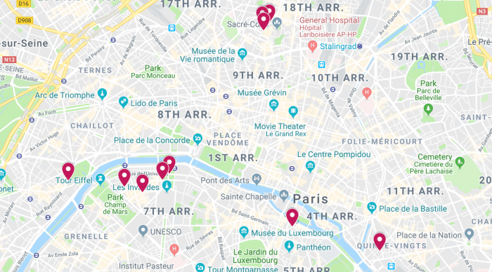 Map of the best streets in Paris | map of the best Paris streets to discover