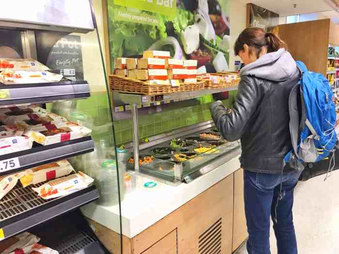 fresh salad bar at London grocery stores | supermarkets in london travel tips