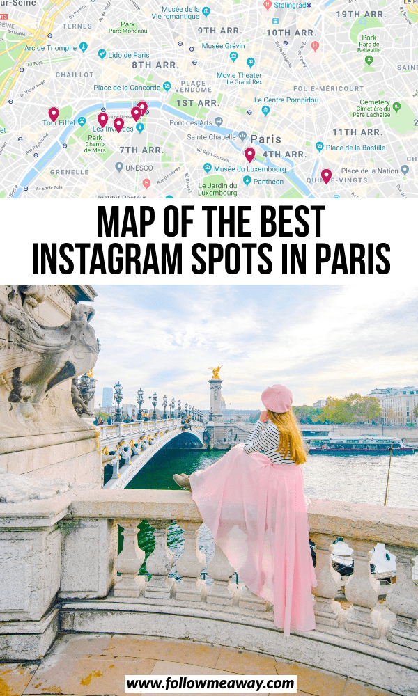 map of the best instagram spots in paris