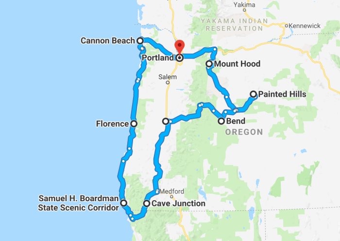 Oregon road trip map of the itinerary