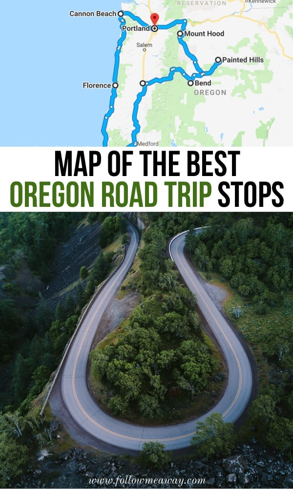 Map Of The Best Oregon Road Trip Stops | what to do and see in Oregon on a road trip | Oregon travel tips | best oregon itinerary for your Oregon coast road trip | what to do in the Pacific Northwest