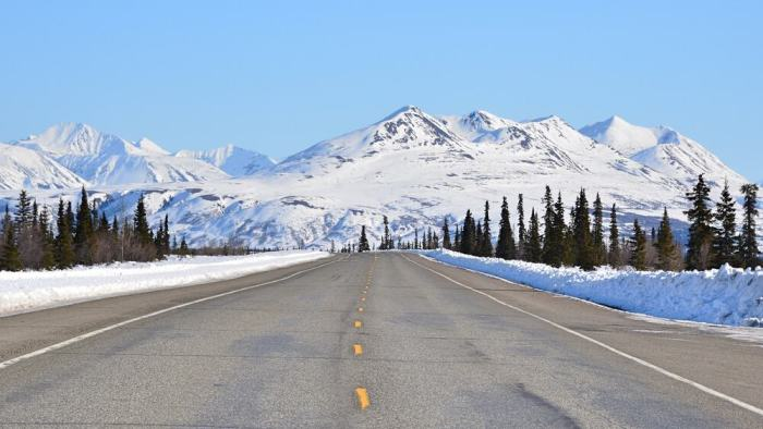 road with mountain in Alaska
