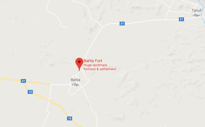 Map of Bahla Fort Location in Oman