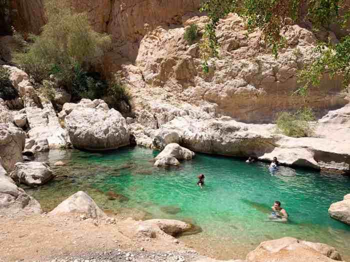 small beach area at Wadi Bani Khalid in Oman
