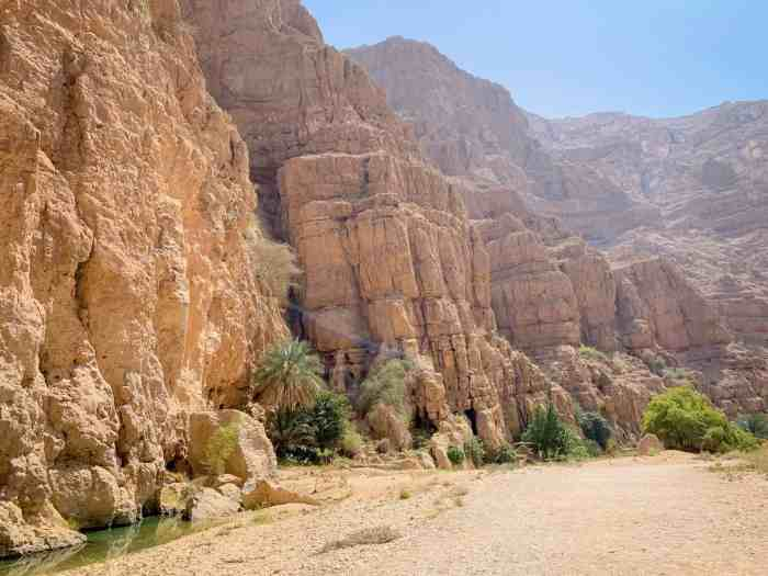 Hiking in the valley of wadi shab Oman
