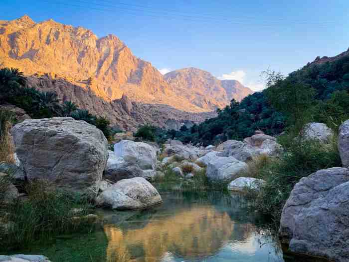 sunset in Wadi Tiwi Oman