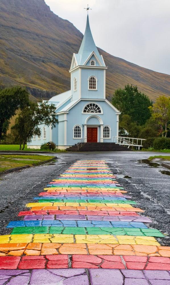 The rainbow road of Seydisfjordurkirkja Church is so unique!