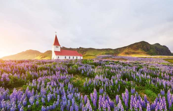 Vik i Myrdal Church is one of the most photographed churches in Iceland