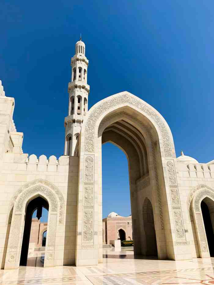 Exterior of the Sultan Qaboos Grand Mosque in muscat Oman