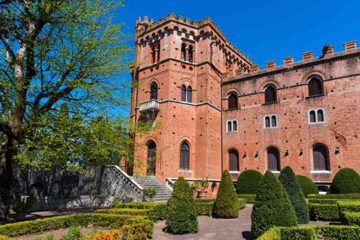 Castello di Brolio is an imposing red brick castle in Tuscany