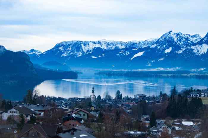 A beautiful view of the town and lake of St. Gilgen, which hosts one of the Christmas markets in Austria
