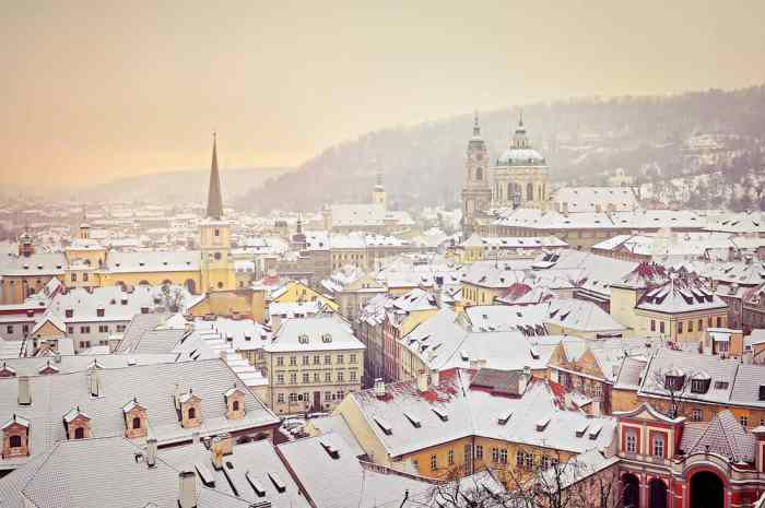 Snow on top of the buildings in the town of Bern