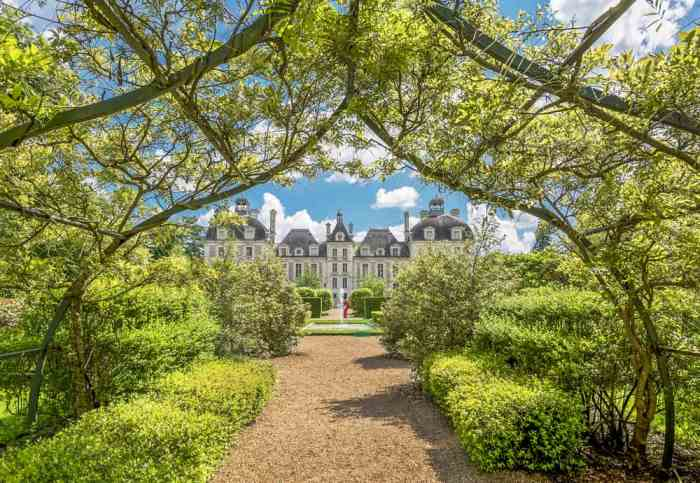 View of Chateau de Cheverny castle in France from the gardens