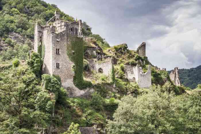 The mysterious ruins of Tours de Merle castle in france