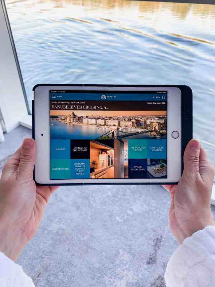 iPad provided in suites on Crystal Cruises