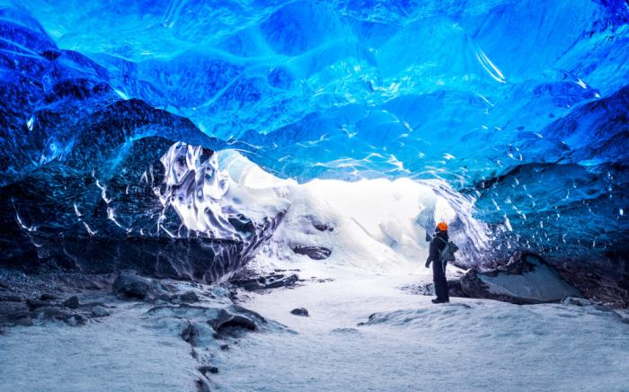 person in ice cave in November