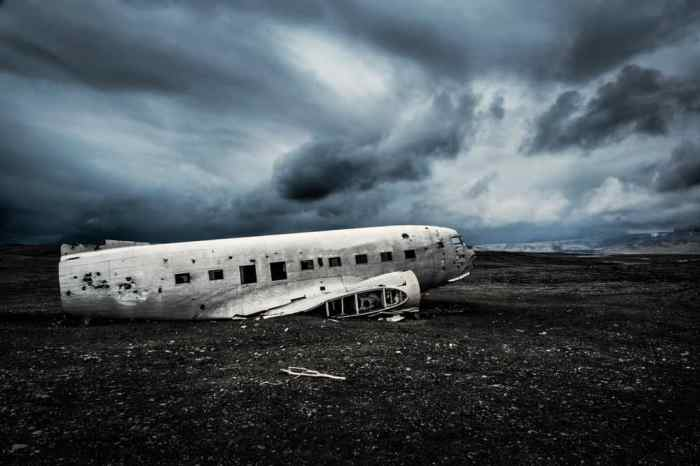 stormy skies over the Iceland plane crash