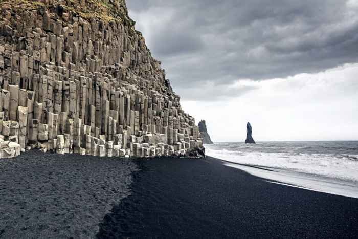 basalt columns at Reynisfjara Black Sand Beach in South Iceland