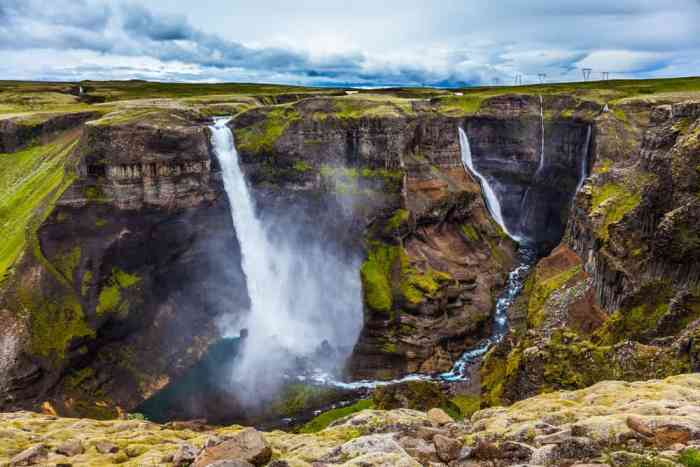 view from edge of gorge of Haifoss and Granni waterfalls in South Iceland