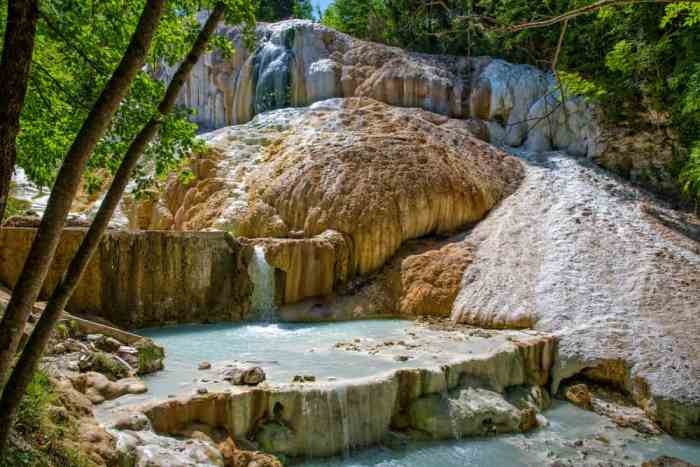 The calcium build up near the thermal springs of Bagni San Filippo make it a famous hot spring in Tuscany!