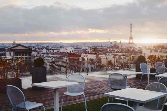 sunset view from Printemps cafe in Paris