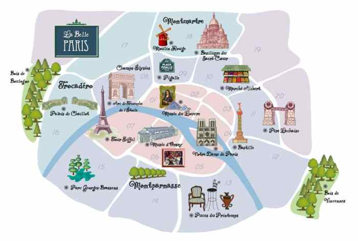 map of where to stay in paris by Arrondissements