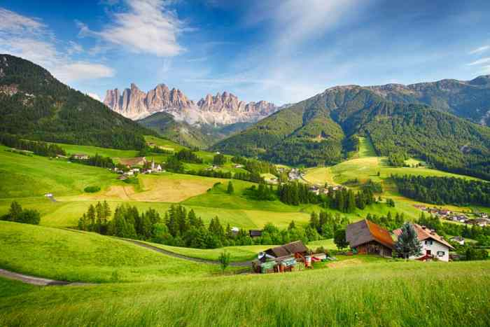 Beautiful town in the Dolomites on Italy road trip