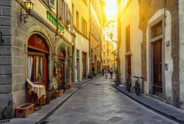 narrow street in Florence on Italy road trip