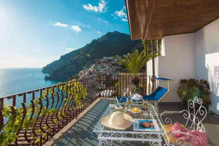 A balcony facing the sea. Eden Roc Suites, Positano, is where to stay on the Amalfi Coast