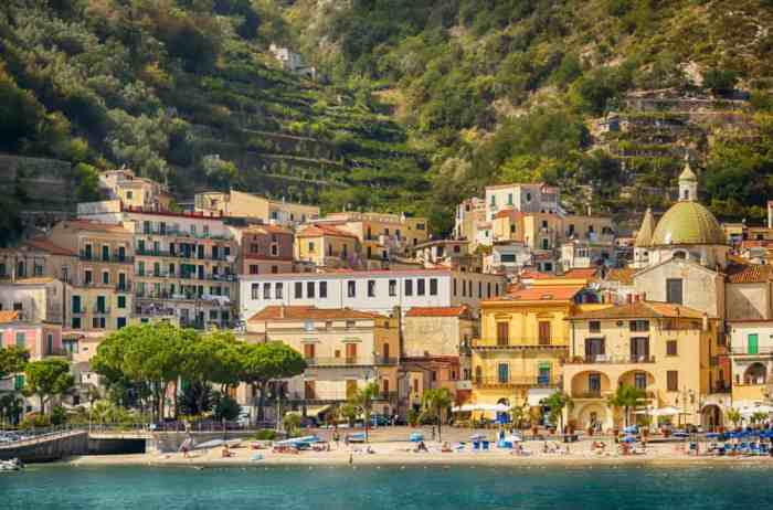 The gorgeous beach and buildings of Maiori, a great choice of where to stay on the Amalfi Coast