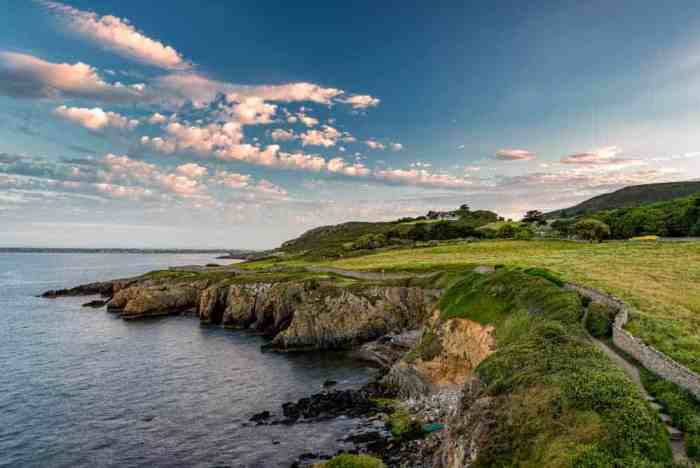 one of the easy hikes in Ireland along a cliff Howth Cliff Walk is a popular destination
