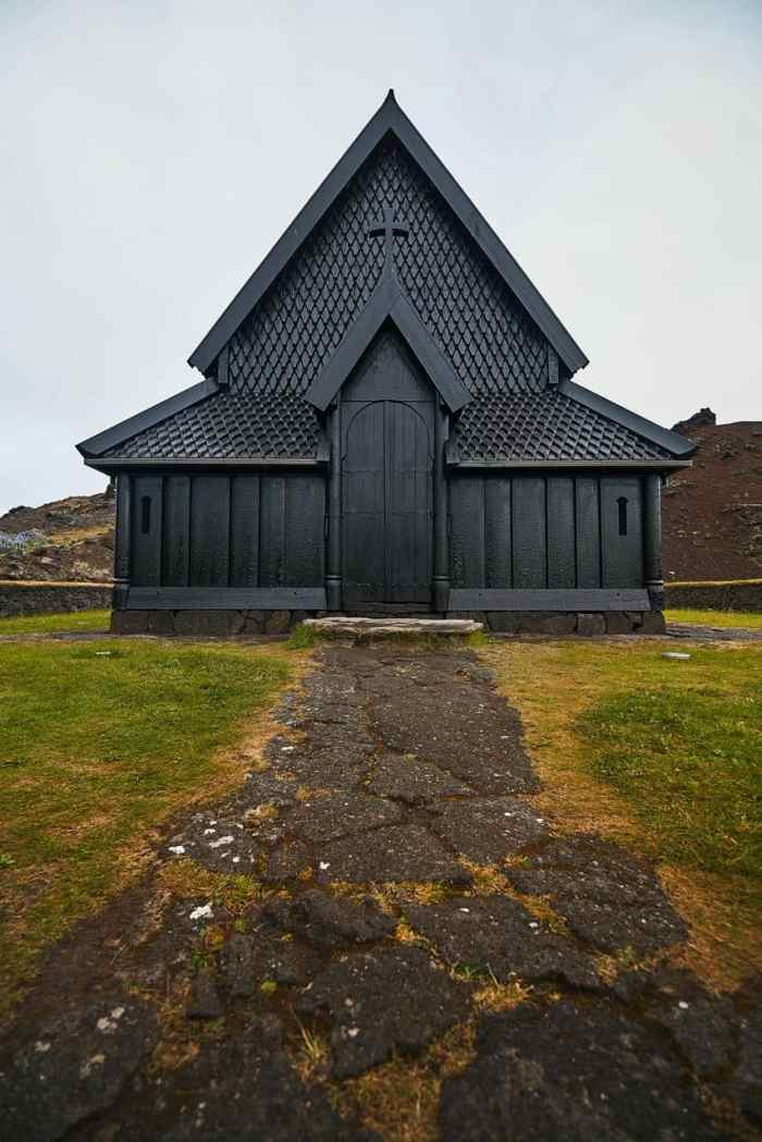 moody black stave church in Iceland