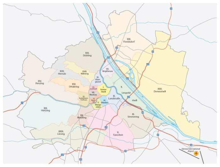 map of the districts in Vienna Austria