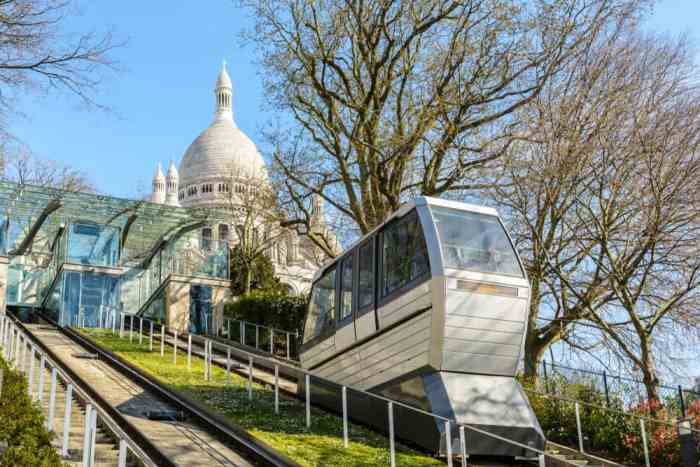 The funicular takes tourists up to Sacre-Coeur