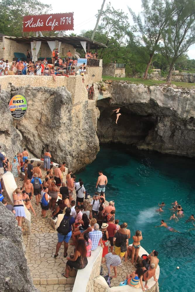 Photo of Cliff Jumping at Rick's Cafe, a Fun Jamaica Honeymoon Activity