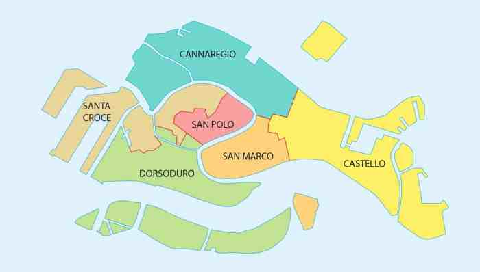 A map of the neighborhoods of Venice, helpful when deciding where to stay in Venice