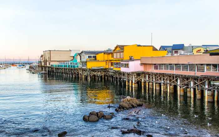 Monterey wharf and marina on your west coast road trip