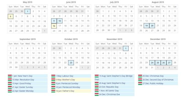 匈牙利2019、2020整年度國定假日一覽表