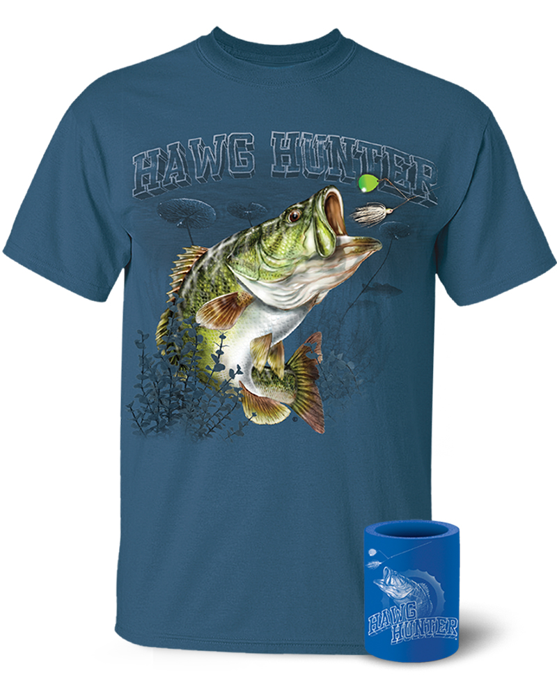 Largemouth bass hawg hunter t shirt and koozie combo for Bass fishing shirt